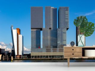 Cityscape of Rotterdam with modern skyscraper buildings in the financial district and port area of the Dutch city