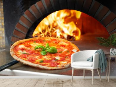 Hot Margherita Pizza Baked In Oven