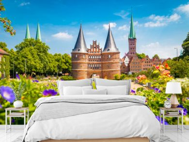 Historic town of Lübeck with famous Holstentor gate in summer, Schleswig-Holstein, northern Germany