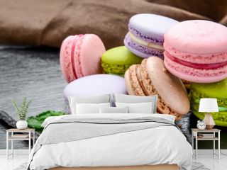 Stack of macarons, macaroons French cookie
