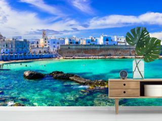 Beautiful white town Monopoli in Puglia with turquoise sea. Italy