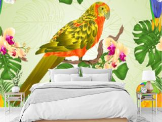 Seamless texture Sun Conure Parrots tropical exotic birds   with beautiful yellow and white orchid and philodendron vintage vector illustration editable hand draw