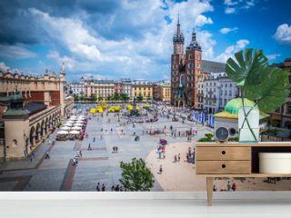 Cracow (Krakow) - Main Square (Rynek Glowny) with Marketplace (Sukiennice), Adam Mickiewicz Monument, church of Saint Mary (Kosciol Mariacki) and church of Saint Adalbert - window view