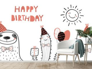 Hand drawn birthday card with cute funny flamingo, sloth, cactus, cat, llama in party hats, lettering quote Happy birthday. Isolated objects. Line drawing. Vector illustration. Design concept kids