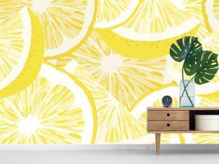 Yellow Lemon Seamless Vector Pattern