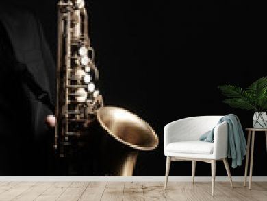 Saxophone player. Saxophonist with jazz musical instrument