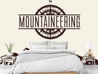 Mountaineering and travelling background with huge mountain range silhouette and windrose. Vector illustration.