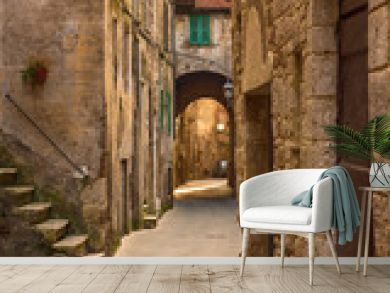 Narrow street of medieval ancient tuff city Pitigliano, travel Italy background