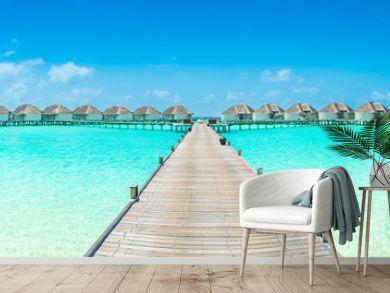 Overwater bungalow in the Indian Ocean