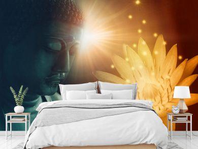 peace buddha face enlighten with golden lotus light of buddhist peace