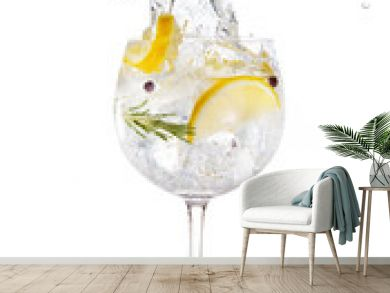 gin tonic splashing isolated on white background