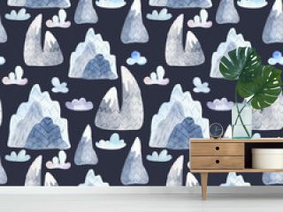 Watercolor seamless pattern with cute cartoon mountains and clouds. Illustration of a mountain landscape for wallpaper, scrapbook, cards, invitations, fabrics, childish design.
