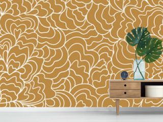 Seamless sea hand-drawn pattern, wavy background. Vector illustration in hand drawn style. Simple line repeated design for wallpaper or fabric.