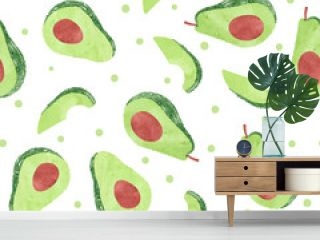Seamless watercolor avocado pattern. Vector fruit background.