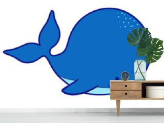 Cute cartoon whale isolated on white background. Vector illustration
