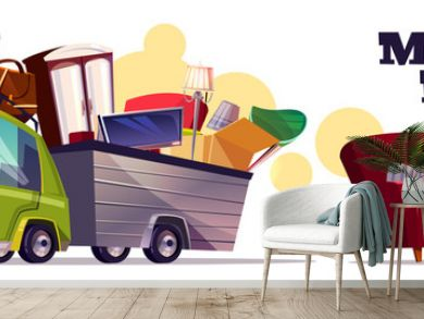 Moving house vector concept with car carrying filled cardboard boxes, baggage, TV and furniture in utility trailer cartoon illustration on white background. Transporting home stuff with own automobile