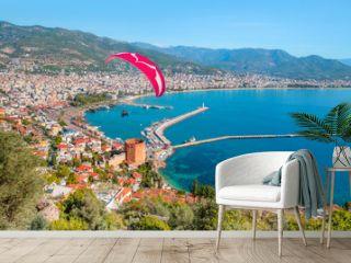 Landscape with marina and Red tower in Alanya peninsula - Antalya, Turkey
