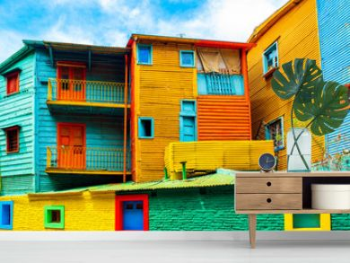 La Boca, view of the colorful building in the city center, Buenos Aires, Argentina.
