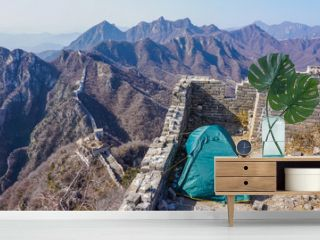 Camping tent on the Great Wall of China