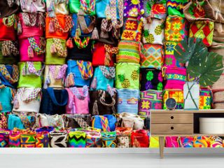 Street sell of handcrafted traditional Wayuu bags at the walled city of Cartagena de Indias