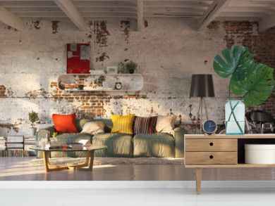 modern vintage brick loft apartment with flares