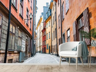 Beautiful street with colorful buildings of Old Town in Stockholm, Sweden