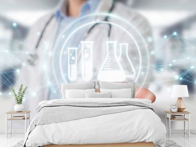 Doctor holding digital analysis result icons 3D rendering