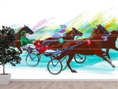 Jockey and horse.Sulky racing