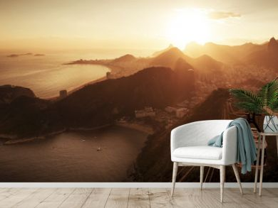 Cable car to sugarloaf mountain and panorama of Rio de Janeiro at sunset