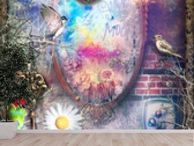 Sfondo mistico e surreale con specchio magico e stregato