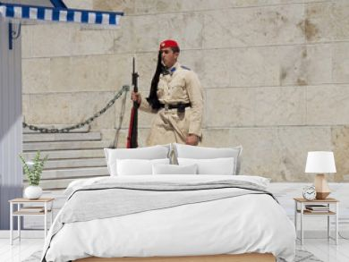 Athens, Greece, the Protection of the Greek Parliament in Athens Syntagma square. In modern Greece, the evzons are members of the Presidential guard