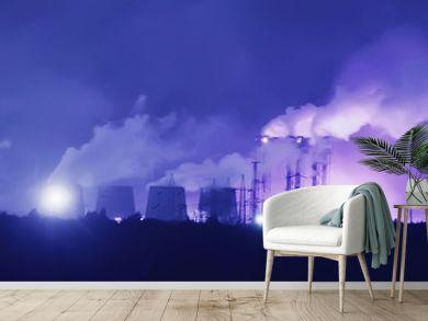 landscape night smoke pipe industry / factory landscape horizontal, concept pollution, smoke, ecology