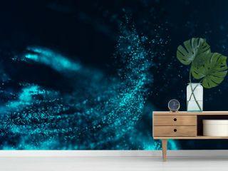 Big data visualization. Digital background. Analytics representation. Wave of particles. 4k rendering.