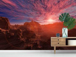Alien landscape. The stony desert at sunset.