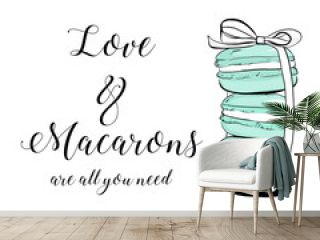 """Vector colorful cute macaroons and hand drawn quote text """"Love & Macarons are all you need"""". Sweet pastry cookies with crumbles. Stack of colorful macarons icon. Macaroon Vector illustration isolated"""
