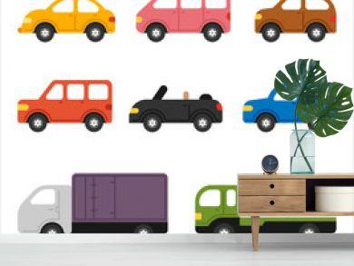cute shape car simple icon set. flat design style vector graphic illustration