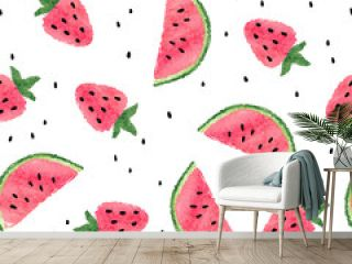 Seamless watercolor watermelon and strawberry pattern.