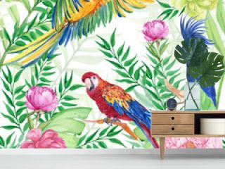 seamless patterns for textile design, tropical flowers and bright bird parrots .watercolor hand painting