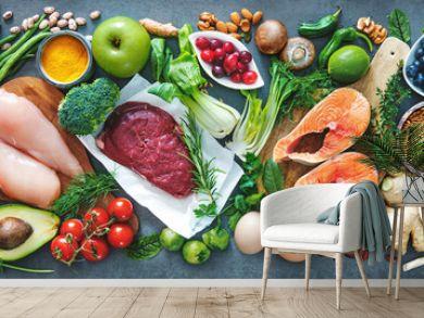 Balanced diet food background