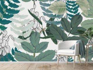 Botanical seamless pattern, green leaves on light gray background