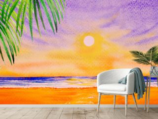 Colorful watercolor painting on paper of seascape.