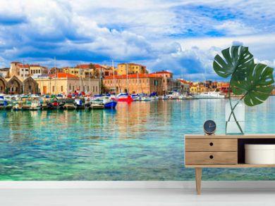 Beautiful Greece series - panaorama of picturesque old town Chania. Crete island