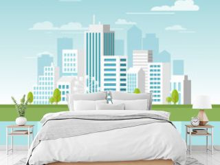 Vector illustration of modern urban landscape with white skyscrapers and big buildings. Concept website template for banner design in flat style.