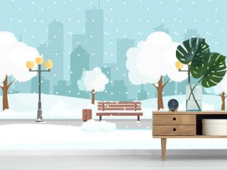 Vector illustration of winter city park with snow and big modern city background. Bench in winter city park, winter holidays concept in flat cartoon style.