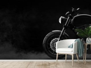 Black motorcycle detail on a dark background with smoke, side view (3D illustration)
