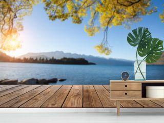 Perspective Wood Display on Blur Lake view