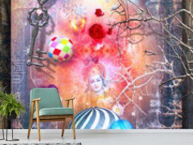 Sfondo fantastico con figure in meditazione e chiave magica