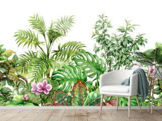 Tropical Plants Line Seamless Pattern
