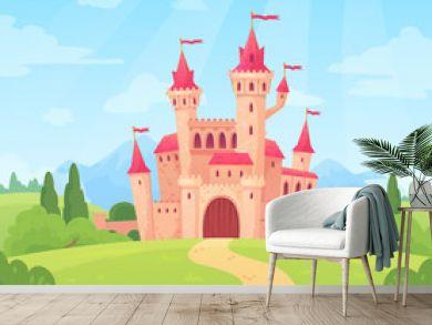 Fairytale landscape with castle. Fantasy palace tower, fantastic fairy house or magic castles kingdom cartoon vector background