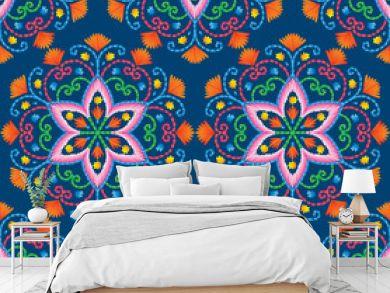 Vector seamless embroidery pattern, decorative textile ornament, pillow or bandana decor. Bohemian handmade style background design.